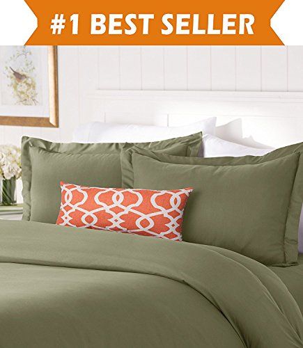 (Elegant Comfort #1 Best Bedding Duvet Cover Set! 1500 Thread Count Egyptian Quality Luxurious Silky-Soft Wrinkle Free 3-Piece Duvet Cover Set, Full/Queen, Sage-Green)