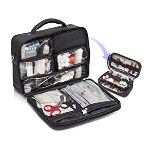 Doctor's Medical Bag in Durable Black Twill With Removable Compartments – Empty(Size: One Size)