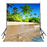 Lyly County Photography Background 5x7ft Summer Sunshine Natural Beach Coast Tropical Paradise Blue Sea Sky Coconut Tree Photo Studio Props (Upgrade material) LY032