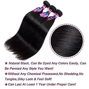Peruvian Straight Hair, Mornice Hair 10A Virgin Human Hair Bundles Extensions 100% Unprocessed Natural Color 3Pcs (10 12 14)