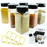 Spice Jars Set of 6 Empty Bottles with Shaker Lids and Labels - 9 Oz Classic Square Bottles - Storing Seasoning and Spice