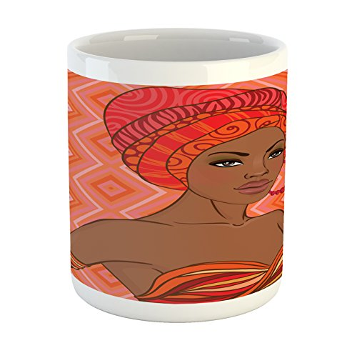 African American Mug (Ambesonne African Mug, Portrait of African Woman in Ethnic Dress Zulu Inspired Tribal Graphic Print, Printed Ceramic Coffee Mug Water Tea Drinks Cup, Scarlet Umber)