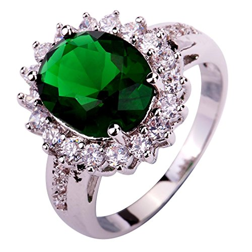 YAZILIND Lady's Silver Plated Flower Shape Emerald Zircon Ring For Women Gift Size7 (Emerald Shape Ring Setting)