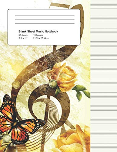 Blank Sheet Music Notebook: Vintage Styled Manuscript Paper Staves (Notebook for Musicians)