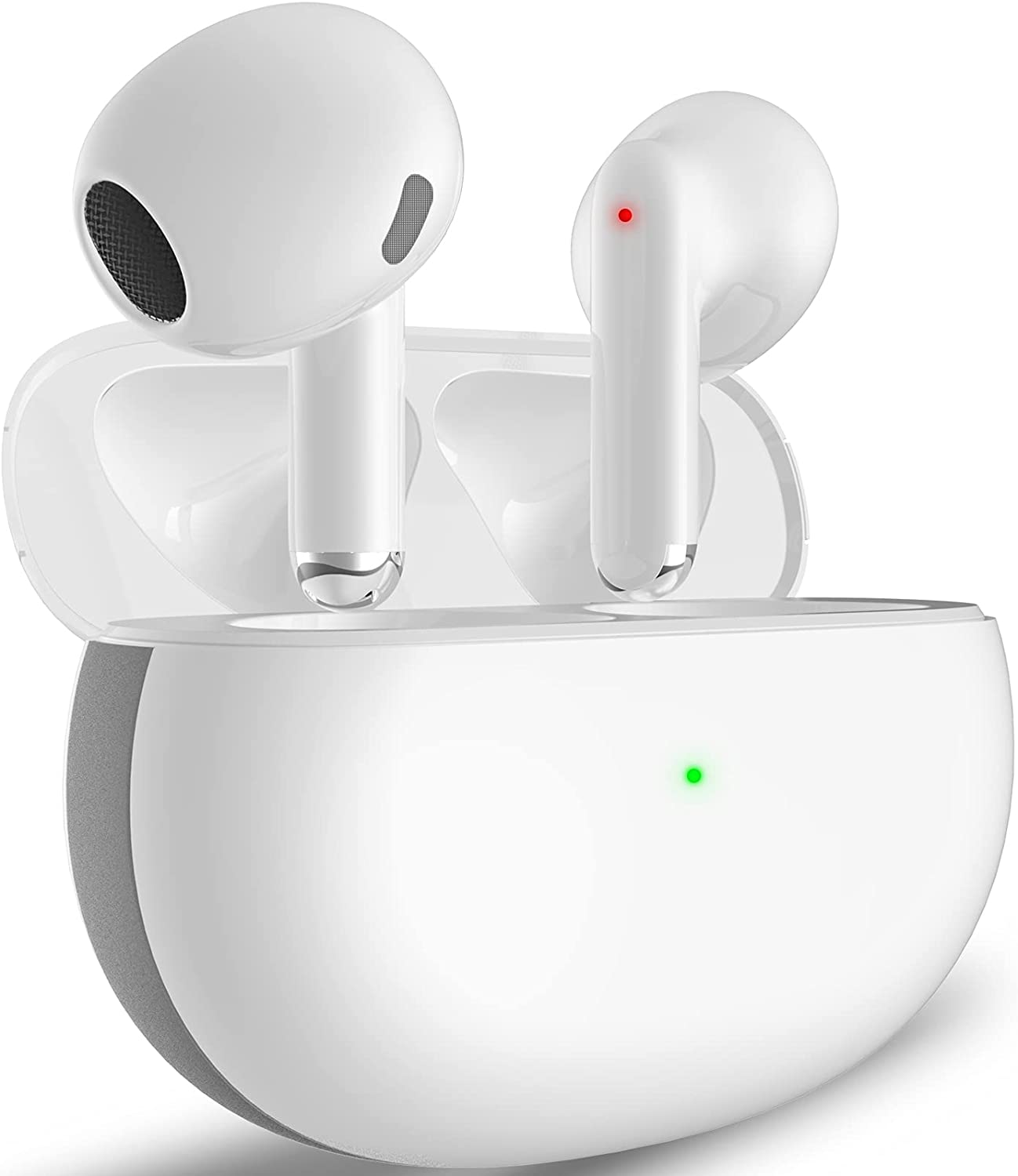 Wireless Earbuds Bluetooth Headphones with Fast Wireless Charging 24Hours Box 3D Stereo Sound Earphones Active Noise Cancelling in-Ear Headphones for Android/iOS/iPhone/Samsung/Earbuds (White)