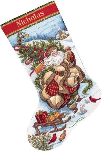 Gold Collection Santa's Journey Stocking Counted Cross -