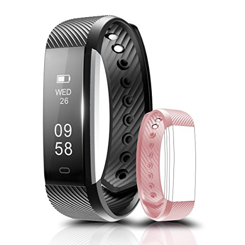 Fitness Tracker, Coffea C2 Activity Wristband : Bluetooth Wireless Smart Bracelet, Waterproof Pedometer Activity Tracker Watch with Replacement Band for IOS & Android Smartphone (Black+Pink strap)