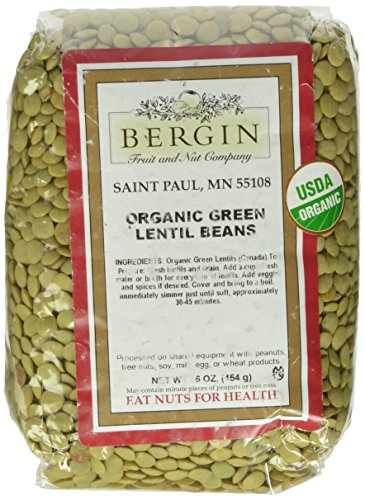 Bergin Nut Company Organic Green Lentils, 16-Ounce Bags (Pack of 6) by Bergin Nut Company