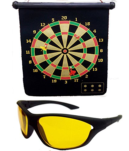 HRINKAR Foldable Magnetic Dart Board For Indoor Entertainment With 4 Darts Size 380 X 320 Mm + - Sunglasses Dartboard
