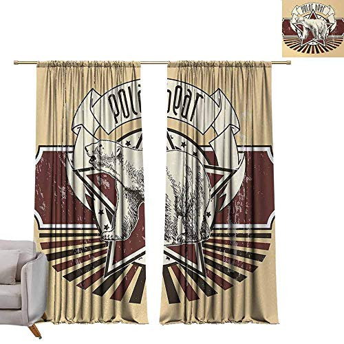 (berrly Blackout Window Curtain Panel Animal,Vintage Retro Polar Bear Label with Bold Stripes Artwork Image,Peach White Black and Burgundy W72 x L108 Tie Up Shades Rod Blackout Curtains )
