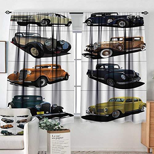 Rare Vintage Fabric - Mozenou Cars Window Curtain Fabric Rare Fifties Vintage Cars with Closed Roof Tops Original Timeless Automobile Graphic Decorative Curtains for Living Room 55