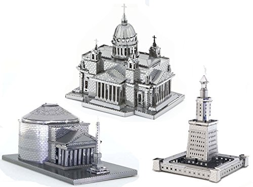 3D Metal Puzzle Models Of St. Isaacs Cathedral, Roman Pantheon and The Light House of Alexandria - DIY Toy Metal Sheets Assembling Puzzle, 3D puzzle  3 Pack