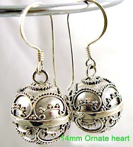 14mm Solid sterling silver harmony ball musical earrings - ornate heart