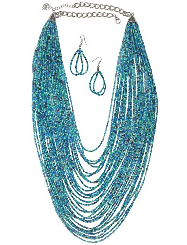 Long Multi Row Layered Seed Bead Statement Necklace and Dangle Earring Set (Blue Tones with Black)