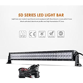 "Auxbeam 32"" LED Light Bar 180W Off Road Driving Lights LED Work Light CREE Chips Spot Flood Fog Lamp 5D Lens with Wiring Harness for Car, Jeep, Vehicle, ATV, UTV, Pickup"