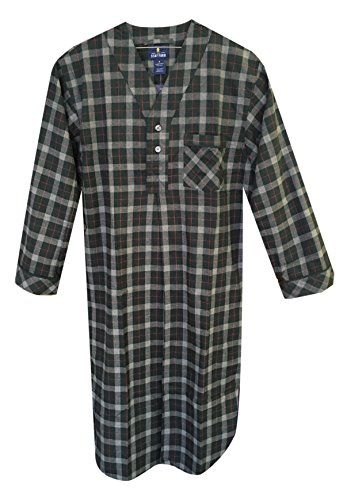 Stafford - Men's Flannel Nightshirt (X-Large, Hunter Plaid) (Nightshirt Flannel Mens)