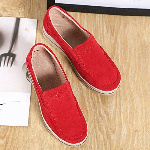 Donna Scarpe Pelle Scamosciata SUO Z Rosso 2 da Guida Moda Loafers Mocassini comode in SFZEzfwx