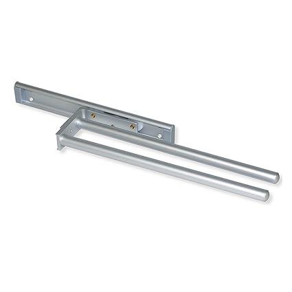 Emuca 7086962 Soporte colgador extensible para toallas/paños de cocina con 2 brazos largo 440mm