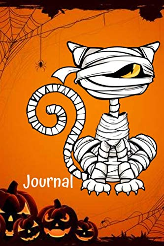 Black Cat Coloring Page For Halloween (Journal: Black Cat Mummy Halloween Anxiety Journal and Coloring Book 6x9 90 Pages Positive Affirmations Mandala Coloring)