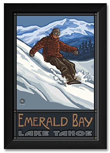 Northwest Art Mall Lake Tahoe Emerald Bay California Snowboarder Edge Framed Art Print by Paul A. Lanquist. Print Size: 12