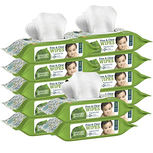 Seventh Generation Thick and Strong Baby Wipes, with Flip Top Dispenser, 768 Count