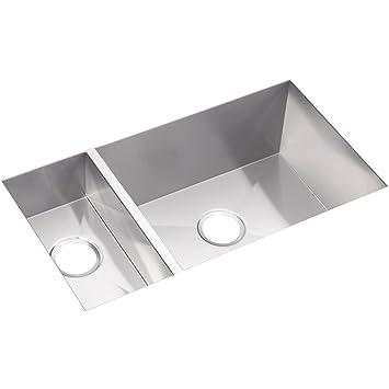 Elkay EFU321910 Crosstown 30/70 Double Bowl Undermount Stainless Steel  Kitchen Sink