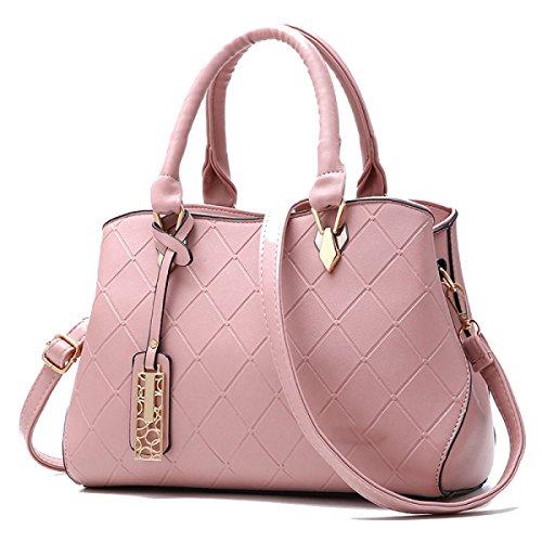 WU ZHI Mujeres Multifuncional Bolso Bolso De Mensajero Bolso De LA PU Suave Piel Salvaje De Gran Capacidad Pink