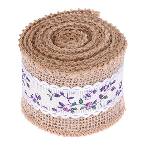 ArMordy(TM) 2M Jute Burlap Natural Hessian Ribbon Roll Vintage Table Runners Wedding Party Decoration Home Decor 3 Colors[Purple]