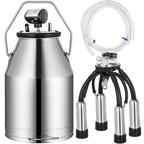l Milker Bucket 25L Milking Machine Barrel Tank Portable Electric Milking Machine for Dairy Farms and Milk Product Plants ()