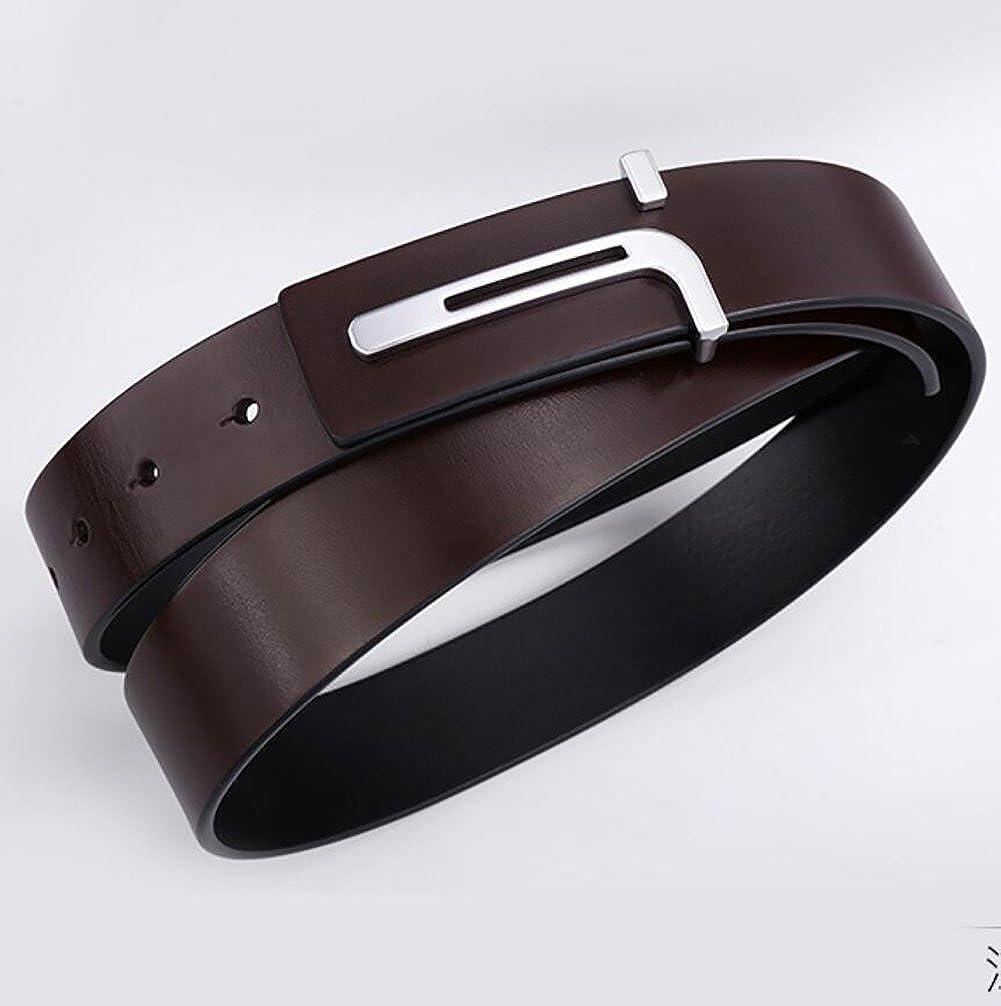 Mens Belt,Genuine Leather Parallel Buckle Smart Casual Business Belt