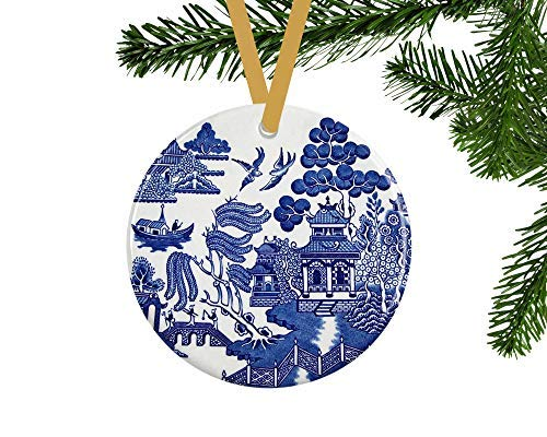 - QMSING Blue Willow Christmas Ornament - Blue and White Ornaments - Vintage Style Christmas Tree Decor - Cottage Home Decor - Unique Hostess Gift