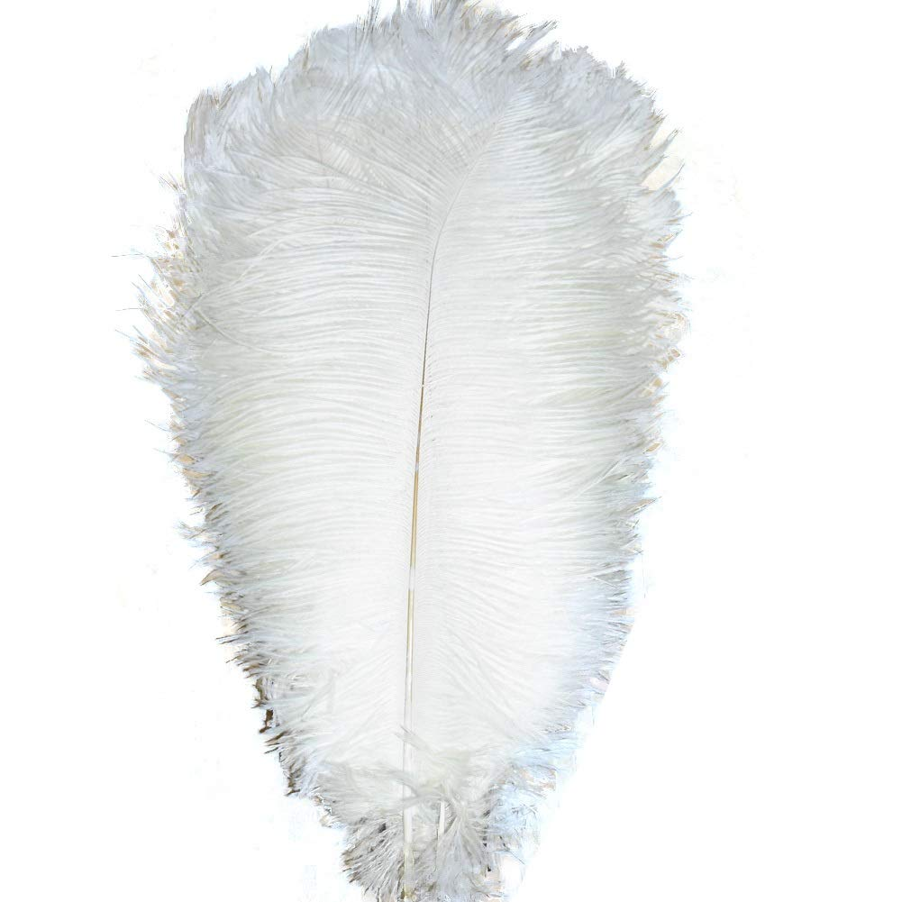 MELADY Pack of 100pcs Natural Ostrich Feathers 14-16inch(35~40cm) for Home Wedding Party Decoration (White)