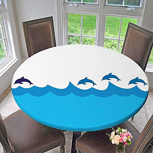 Luxury Round Table Cloth for Home use Sea Lead and Three Dolphins Shadow on Waves Life Theme Blue Turqouise for Buffet Table, Holiday Dinner 35.5