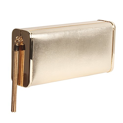 - M10M15 Women Gold Evening Clutch Purse Handbag in Hardcase with Metal Tassel for Party (Gold)