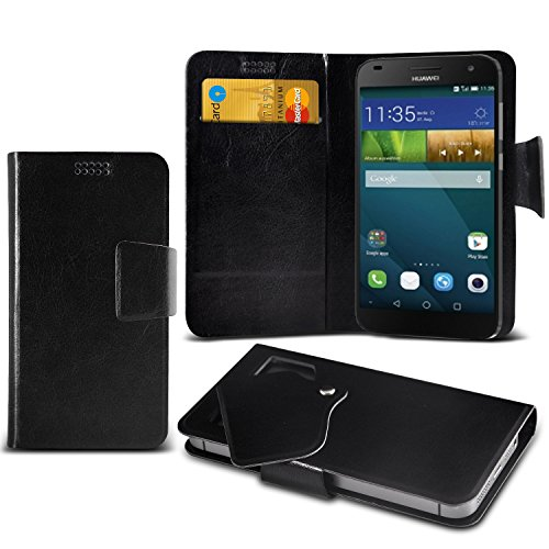 ( Black ) Huawei Ascend G7 Protective Stylish Fitted Super Thin Faux Leather Suction Pad Wallet Case Cover Skin With Credit/Debit Card Slots by ONX3