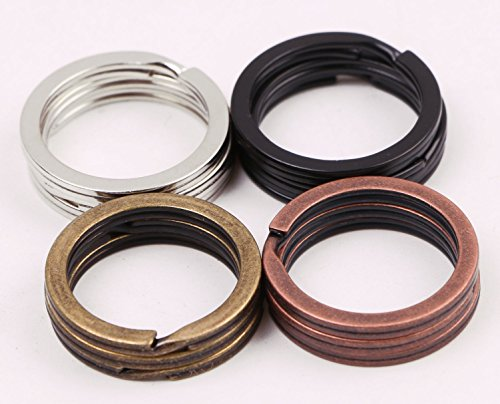 Shapenty 4 Colored (Black, Silver, Bronze, Copper) Metal Flat Split Key Ring Chain Part Connector, 1 Inch Diameter, 12PCS/Box