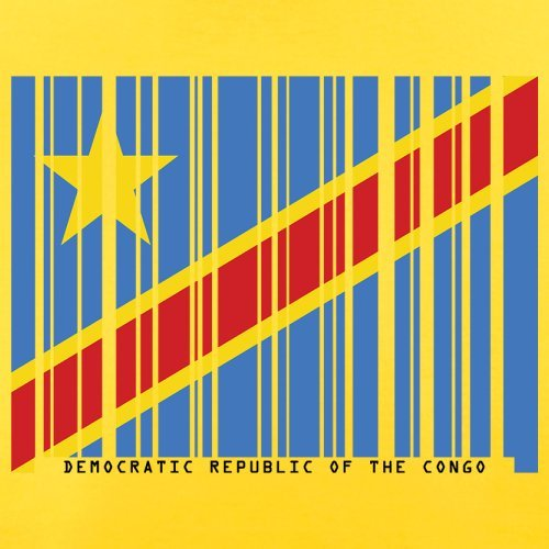 Democratic Republic of the Congo / Demokratische Republik Kongo Barcode Flagge - Herren T-Shirt - Gelb - S