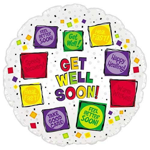 CTI Foil Balloon 114865 GET WELL SOON SQUARES, 17