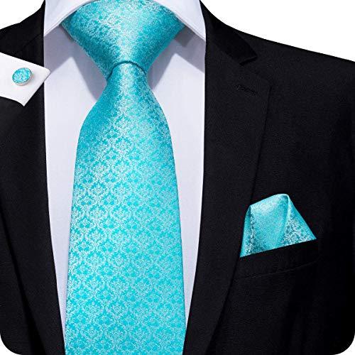 k Check Plaid Tie Necktie with Cufflinks and Pocket Square Tie Set ()