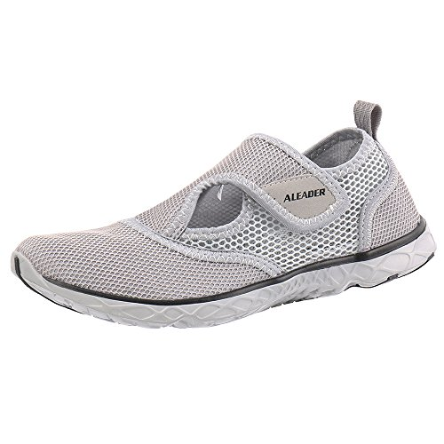 Slip On Athletic Shoes (Aleader Men's Quick-dry Slip On Water Shoes Light Gray 9.5 D(M) US)