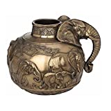 XoticBrands Safari Elephants Vase Decorative 9.65 Inch Animal Statue, Bronze
