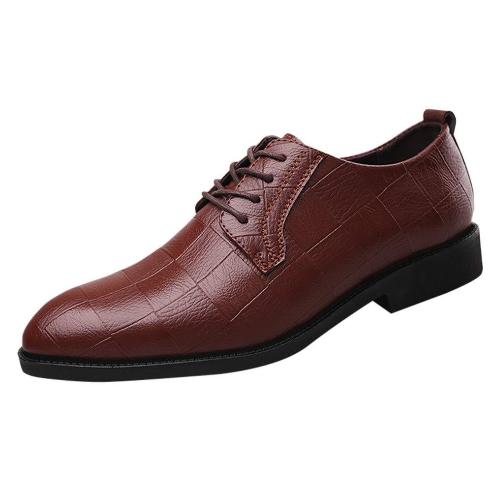 LuckyGirls Zapatos De Cuero para Hombre Cuadros Calzado Zapatos Planos Casual Mocasines Zapatos Formales del Negocio con Cordones: Amazon.es: Deportes y ...