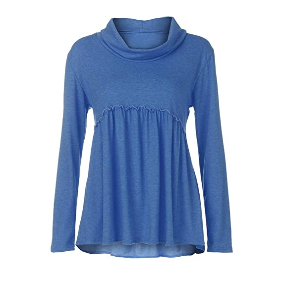 Mujeres Tops Rovinci Mujer Cómodo De Moda Sólido Manga Larga Montón Collar Casual Blusas Tops Camisas