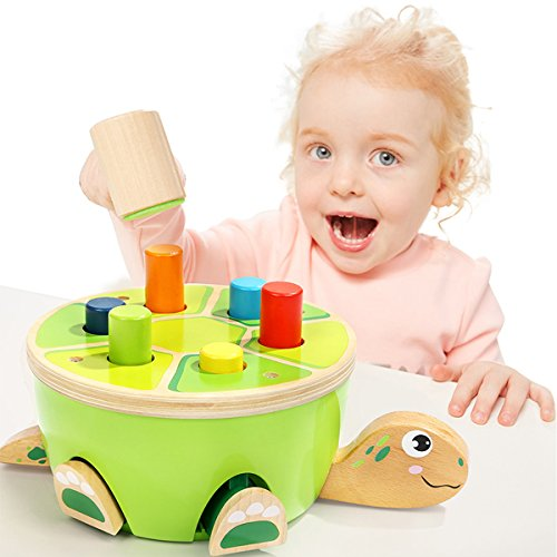 Baby Pounding Bench Wooden Hammer Toy Pegs Game for 1 Year Old Girls Boys