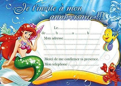 10 Tarjetas De Invitación Para Cumpleaños De La Sirenita