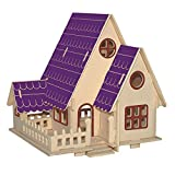 MIFX Woodcraft Construction Kit gift for children color design educational DIY toys 3D Wooden jigsaw puzzle assembly handmade wooden model (Forest-Villa)