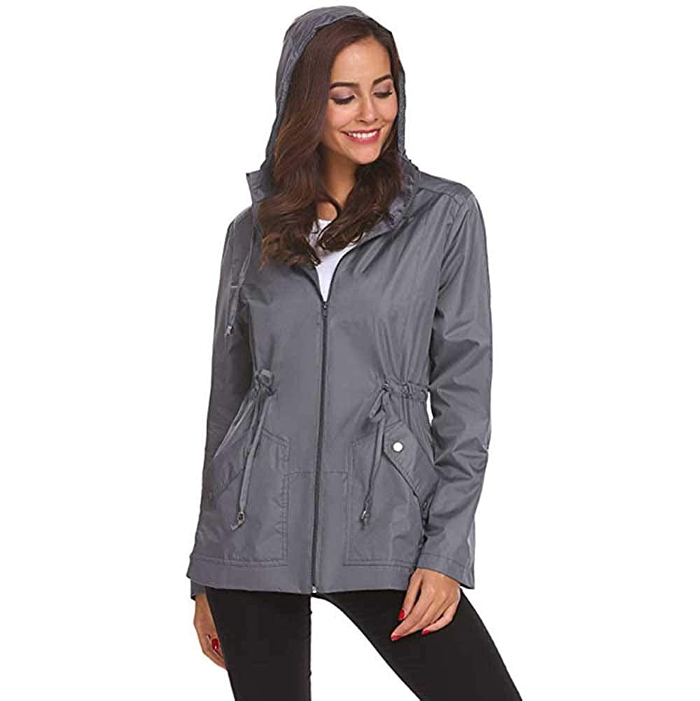 Staron  Womens Rain Jacket Waterproof Hooded Jacket Lightweight Raincoat Aqua