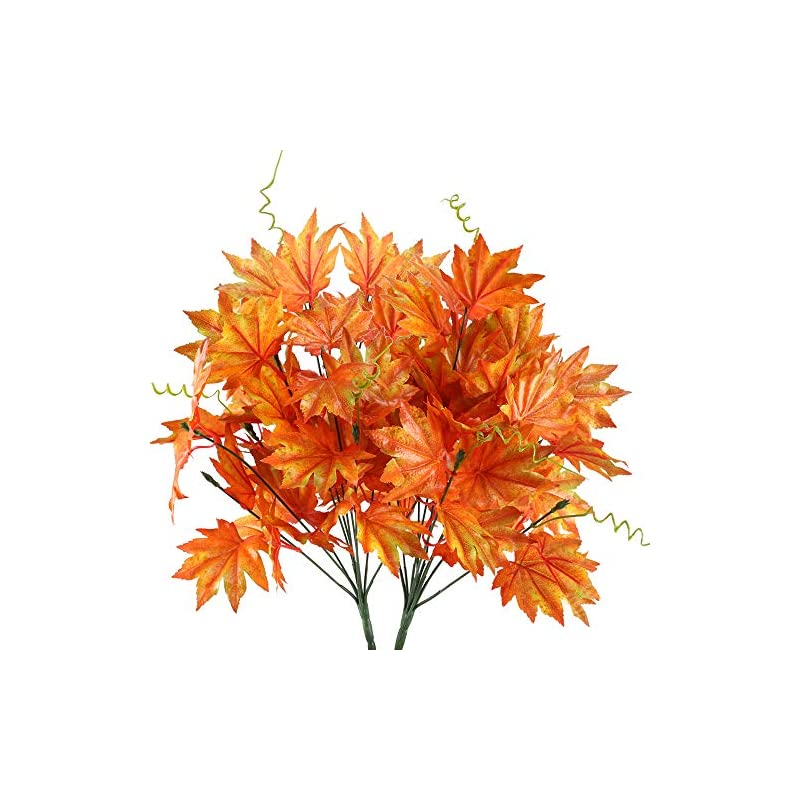 silk flower arrangements ho2nle 2pcs artificial silk maple leaf shrubs fake fall bushes autumn faux plants for indoor outdoor home kitchen living room dining table centerpieces decorations