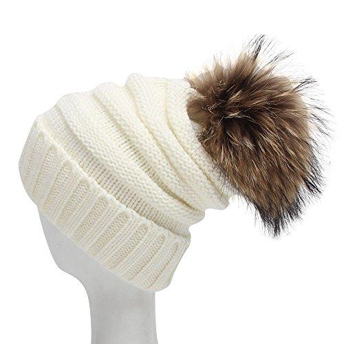 Century Star Womens Winter Skull Beanie Warm Stretch Pom Pom Hat Best Gift White (Coyote Fur Headband)