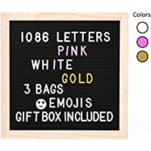 Vintage Black Felt Changeable Letter Board 10x10. 1,086 Plastic Letters & Emojis. 3 Colors, GOLD-PINK-WHITE. Hang Retrogram Wooden Sign or Display. Changable Messages with 3 Canvas Bags